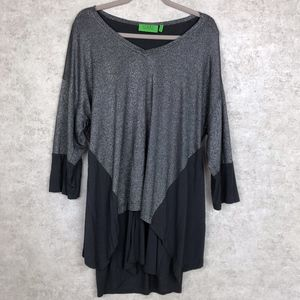 LOGO Lori Goldstein Layered Metallic Tunic
